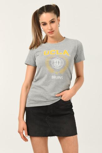 UCLA - ARTESIA Gri Bisiklet Yaka Kadın T-shirt