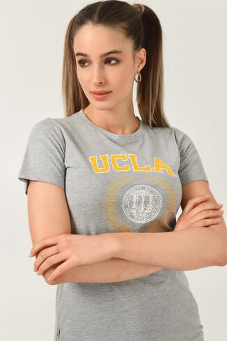 UCLA - ARTESIA Gri Bisiklet Yaka Kadın T-shirt (1)