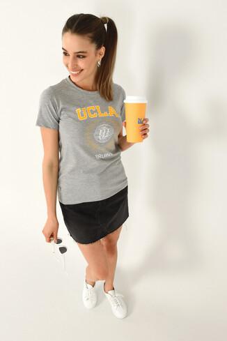ARTESIA Gri Bisiklet Yaka Kadın T-shirt - Thumbnail (4)