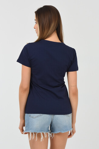 ARTESIA Lacivert Bisiklet Yaka Kadın T-shirt - Thumbnail (3)