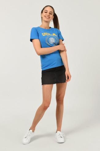 UCLA - ARTESIA Mavi Bisiklet Yaka Kadın T-shirt