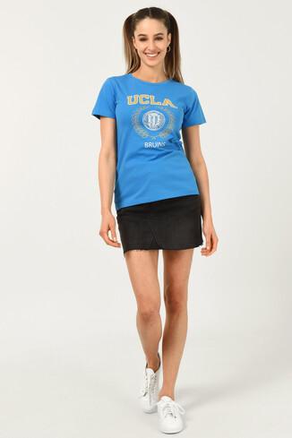 ARTESIA Mavi Bisiklet Yaka Kadın T-shirt - Thumbnail (2)
