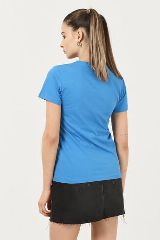 ARTESIA Mavi Bisiklet Yaka Kadın T-shirt - Thumbnail (3)