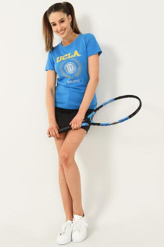 ARTESIA Mavi Bisiklet Yaka Kadın T-shirt - Thumbnail (4)