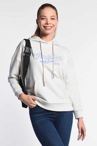 UCLA - AUBURN Krem Kapüşonlu Baskılı Kadın Sweatshirt