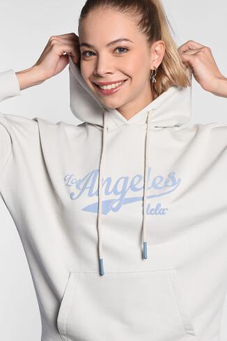 UCLA - AUBURN Krem Kapüşonlu Baskılı Kadın Sweatshirt (1)