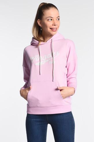 UCLA - AUBURN Lila Kapüşonlu Baskılı Kadın Sweatshirt (1)