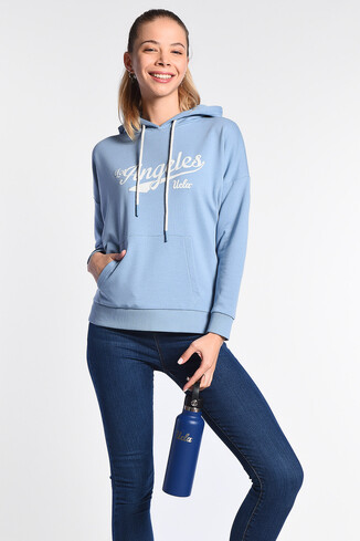 UCLA - AUBURN Mavi Kapüşonlu Baskılı Kadın Sweatshirt