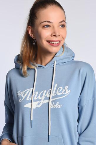 UCLA - AUBURN Mavi Kapüşonlu Baskılı Kadın Sweatshirt (1)