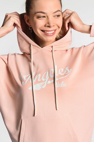 UCLA - AUBURN Pembe Kapüşonlu Baskılı Kadın Sweatshirt (1)