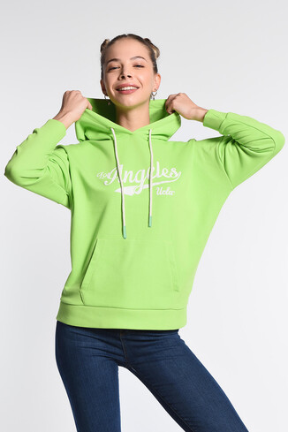 UCLA - AUBURN Yeşil Kapüşonlu Baskılı Kadın Sweatshirt