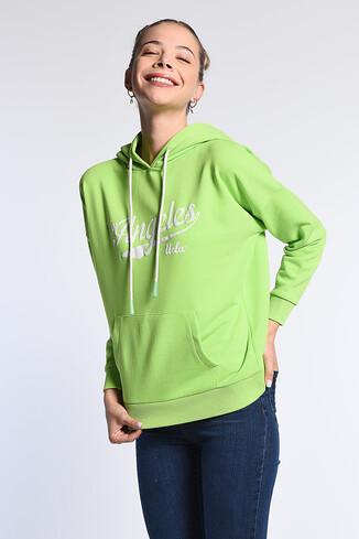 AUBURN Yeşil Kapüşonlu Baskılı Kadın Sweatshirt - Thumbnail (2)
