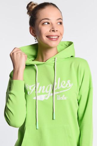 UCLA - AUBURN Yeşil Kapüşonlu Baskılı Kadın Sweatshirt (1)