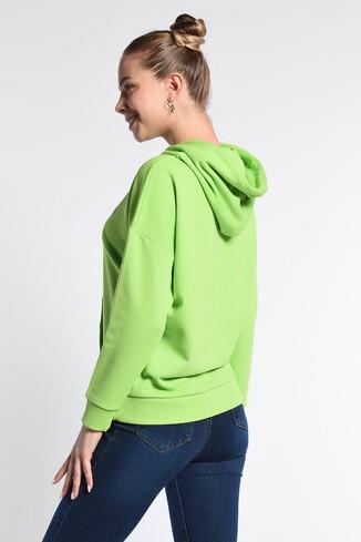 AUBURN Yeşil Kapüşonlu Baskılı Kadın Sweatshirt - Thumbnail (4)