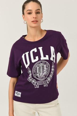 UCLA - AVALON Mor Oversize Bisiklet Yaka Baskılı Kadın T-shirt