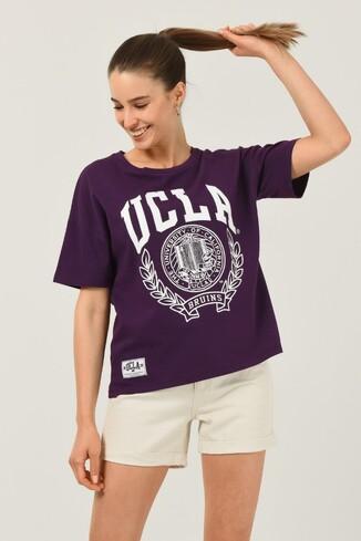 UCLA - AVALON Mor Oversize Bisiklet Yaka Baskılı Kadın T-shirt (1)