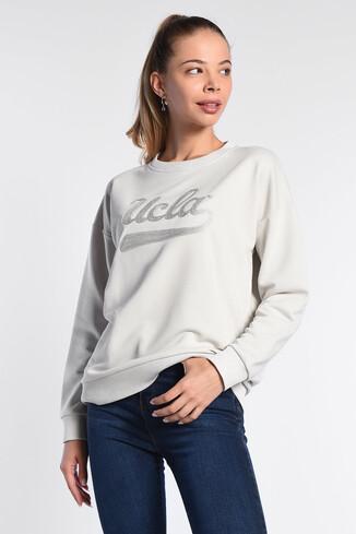 UCLA - BARBARA Krem Oversize Nakışlı Kadın Sweatshirt