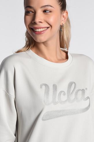 UCLA - BARBARA Krem Oversize Nakışlı Kadın Sweatshirt (1)