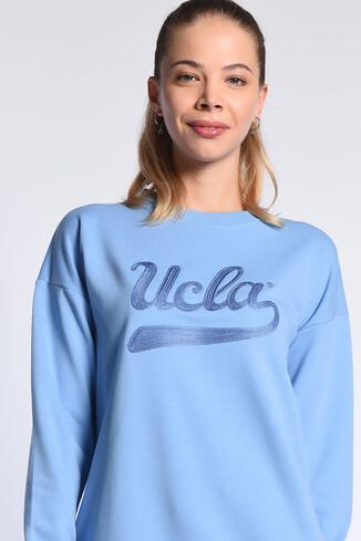 UCLA - BARBARA Mavi Oversize Nakışlı Kadın Sweatshirt