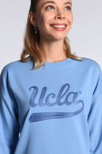 UCLA - BARBARA Mavi Oversize Nakışlı Kadın Sweatshirt (1)