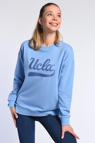 BARBARA Mavi Oversize Nakışlı Kadın Sweatshirt - Thumbnail (2)