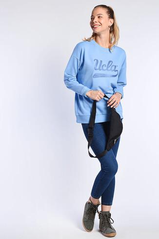 BARBARA Mavi Oversize Nakışlı Kadın Sweatshirt - Thumbnail (3)