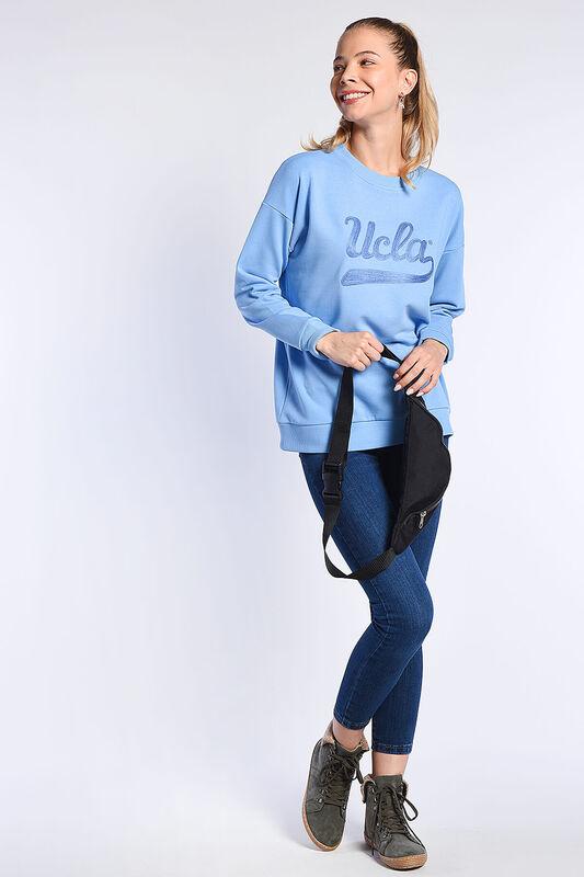 BARBARA Mavi Oversize Nakışlı Kadın Sweatshirt - Thumbnail
