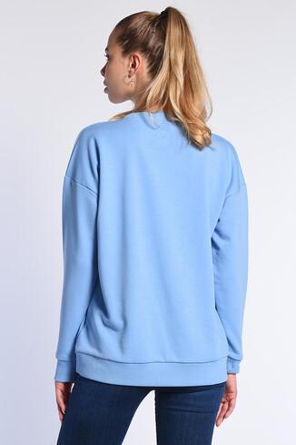 BARBARA Mavi Oversize Nakışlı Kadın Sweatshirt - Thumbnail (4)