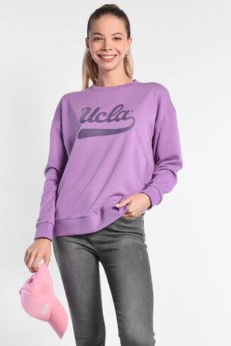 UCLA - BARBARA Mor Oversize Nakışlı Kadın Sweatshirt