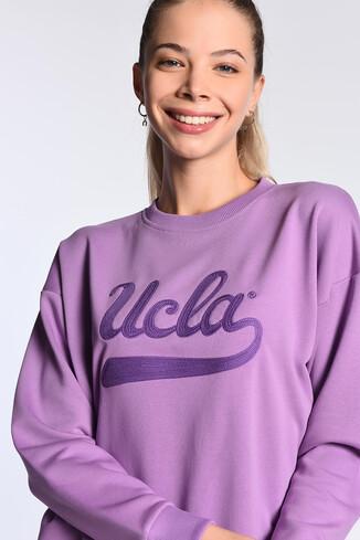 UCLA - BARBARA Mor Oversize Nakışlı Kadın Sweatshirt (1)
