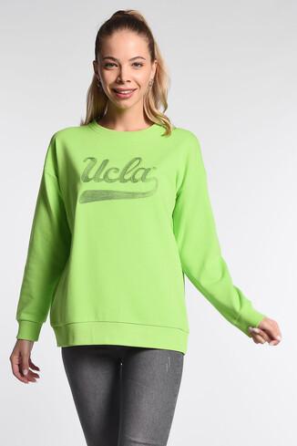 UCLA - BARBARA Yeşil Oversize Nakışlı Kadın Sweatshirt