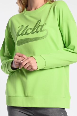 BARBARA Yeşil Oversize Nakışlı Kadın Sweatshirt - Thumbnail (3)