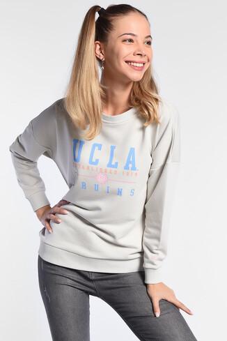 UCLA - BENICIA Bej Oversize Baskılı Kadın Sweatshirt