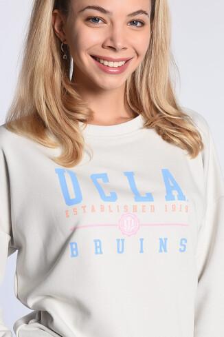 UCLA - BENICIA Bej Oversize Baskılı Kadın Sweatshirt (1)