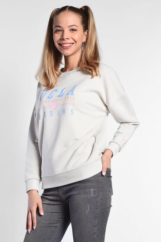 BENICIA Krem Oversize Baskılı Kadın Sweatshirt - Thumbnail