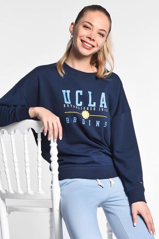 UCLA - BENICIA Koyu Lacivert Oversize Baskılı Kadın Sweatshirt