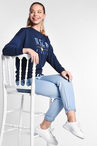 BENICIA Koyu Lacivert Oversize Baskılı Kadın Sweatshirt - Thumbnail (2)