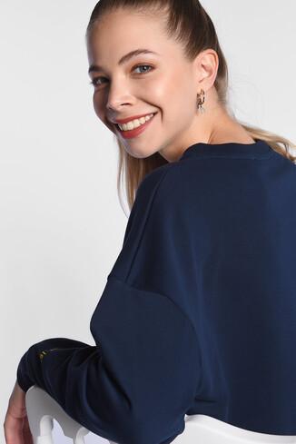 BENICIA Koyu Lacivert Oversize Baskılı Kadın Sweatshirt - Thumbnail (3)