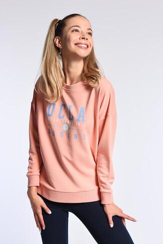 UCLA - BENICIA Pembe Oversize Baskılı Kadın Sweatshirt