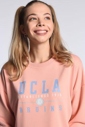 UCLA - BENICIA Pembe Oversize Baskılı Kadın Sweatshirt (1)