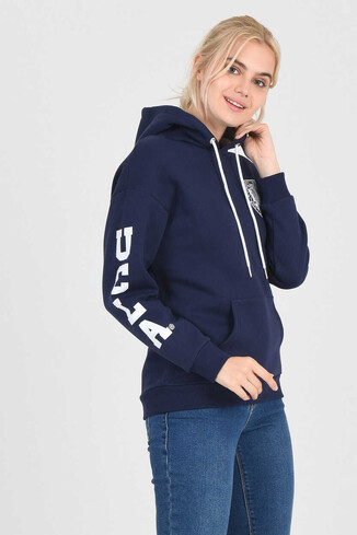 UCLA - BLUFF Lacivert Kapüşonlu Baskılı Kadın Sweatshirt