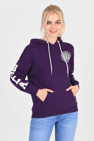 UCLA - BLUFF Mor Kapüşonlu Baskılı Kadın Sweatshirt