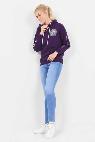 UCLA - BLUFF Mor Kapüşonlu Baskılı Kadın Sweatshirt (1)