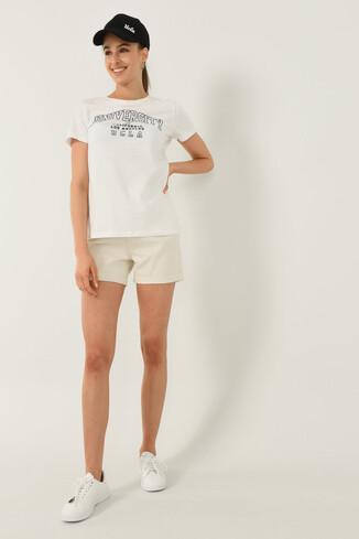 UCLA - BODEGA Beyaz Bisiklet Yaka Baskılı Kadın T-shirt (1)
