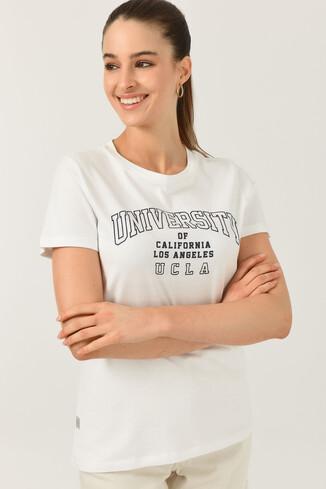UCLA - BODEGA Beyaz Bisiklet Yaka Baskılı Kadın T-shirt