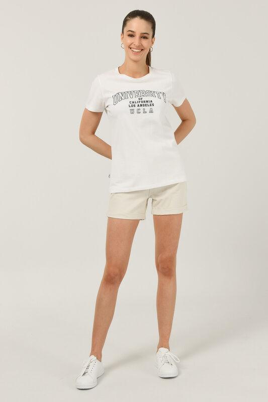 BODEGA Beyaz Bisiklet Yaka Baskılı Kadın T-shirt - Thumbnail
