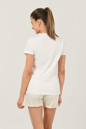 BODEGA Beyaz Bisiklet Yaka Baskılı Kadın T-shirt - Thumbnail (4)