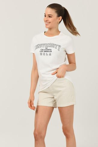 BODEGA Beyaz Bisiklet Yaka Baskılı Kadın T-shirt - Thumbnail (3)