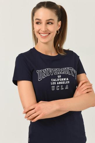 UCLA - BODEGA Lacivert Bisiklet Yaka Baskılı Kadın T-shirt