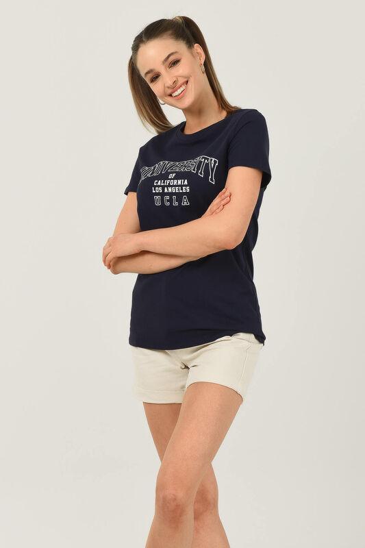 BODEGA Lacivert Bisiklet Yaka Baskılı Kadın T-shirt - Thumbnail